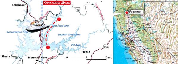 Карта озера Шаста